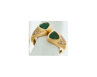 Ring Mineralife two hearts in yellow gold Emerald and diamond