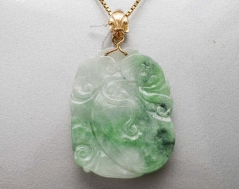 Yellow Gold Pendant Mineralife and carved green jade