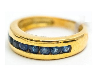 Ring Mineralife ring in yellow gold set with sapphires
