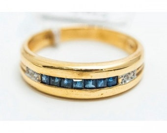 Ring Mineralife ring in yellow gold set with sapphires and diamonds