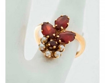 Ring old Mineralife Fleur yellow pearls and garnets