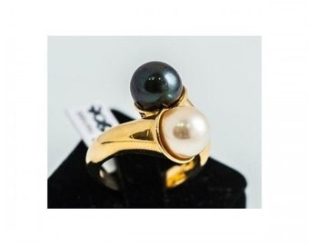 Ring you and me Mineralife gold yellow Pearl White Black Pearl