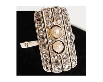Ring Mineralife Art deco Platinum, diamond and pearls