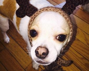 Dog Reindeer Hat, Crochet, Dog Clothes, Chihuahua, Pet Accessories, Crochet,Handmade