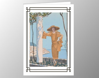 A blank, handmade bland note card featuring an Art Deco fashion plate, 'Amalfi',  by George Barbier