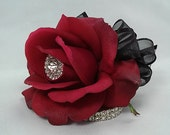 Wedding Corsage-Red Corsage-Prom Corsage-Wrist Corsage-Rhinestone corsage-Homecoming Corsage