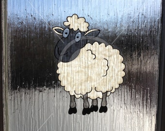 Sheep, cute window cling hand painted for glass & window areas, reusable static cling decal, faux stained glass effect, suncatcher decals