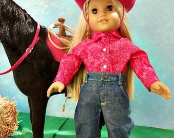 Western Hot Pink Sparkle - American Girl Doll Clothes