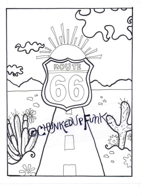 Adult Coloring Book Route 66 New