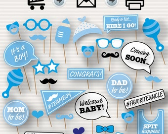 Baby Shower Printable Photo Booth Props - Baby Shower Photobooth Props - Blue Baby Shower Printables - Baby Boy Photo Booth - It's a boy
