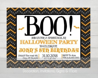 Halloween invitation, halloween birthday invitation, Halloween invites, Halloween birthday party, Halloween party invitations, costume party