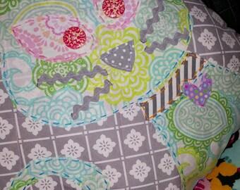 Cat Pillow, Kitty Pillow,  Applique Pillow, Square Pillow, Decorative Pillow, Quilted Pillow, Pillow, Couch Pillow