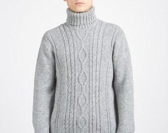 Wool turtleneck sweater in grey color