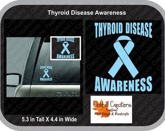 Thyroid Disease Awareness Window Decal Sticker