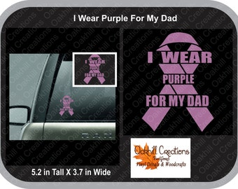 I Wear Purple for My Mom - Pancreatic Cancer Awareness Window Decal Sticker