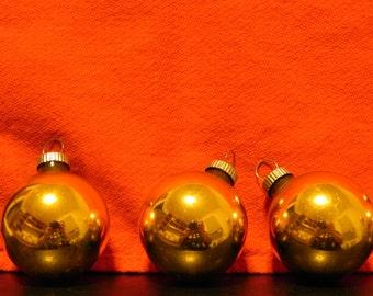Lot of 7 Vintage Shiny Brite  Gold Ornaments