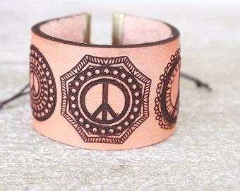 Peace Sign Leather Cuff - Boho Leather Bracelet - Leather Cuff - Bohemian/Gypsy/Hippie