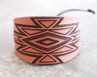 Leather cuff - Southwestern- Leather Bracelet- Southwestern pattern