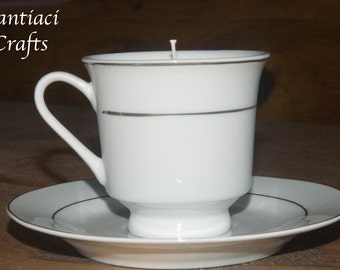Modern, stylish teacup candle - sweet pea scent