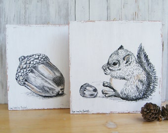 Rustic wood signs, Set of 2, Squirrel and acorn, Natural prints, wood wall decor, Dorm decor, Cabin decor, Christmas gifts