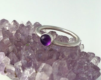 Amethyst silver stacking ring, February birthstone, amethyst ring, sterling silver ring, stacking ring, purple ring, gift for her