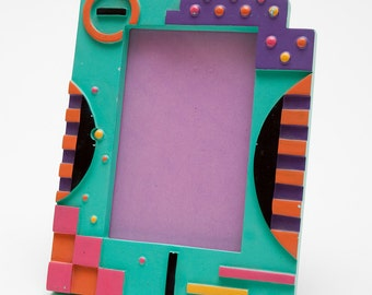 SOUTHWEST STYLE FRAME - Turquoise,  Purple, Black, Peach - Geometric Design