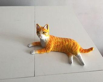 Orange Cat, Handmade figurine. OOAK,
