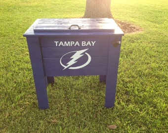 Tampa Bay Lightning wood cooler stand