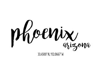 Phoenix Arizona Coordinates Printable