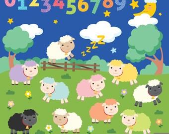 Counting Sheep Digital Clipart, Sheep Clipart