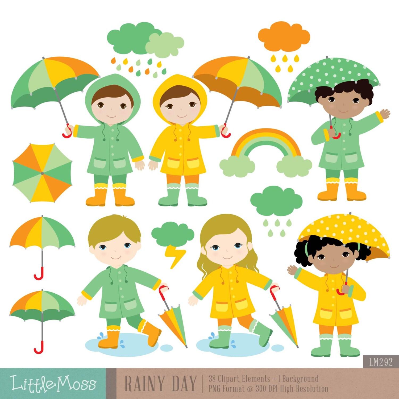 Rainy Day Clip Art: Rainy Day Digital Clipart From LittleMoss On Etsy Studio