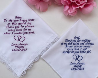 Wedding Hankies For Parents/Personalized Wedding Handkerchief For Mother Of Bride & Father Of Bride With Hankerchief Gift Box