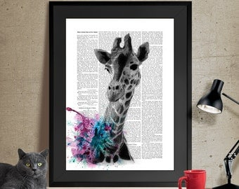 Giraffe Art, Giraffe Print, Wall Art, Giraffe Nursery, Giraffe Illustration wall art wall decor wall hanging, Giraffe Hunting Print (54)