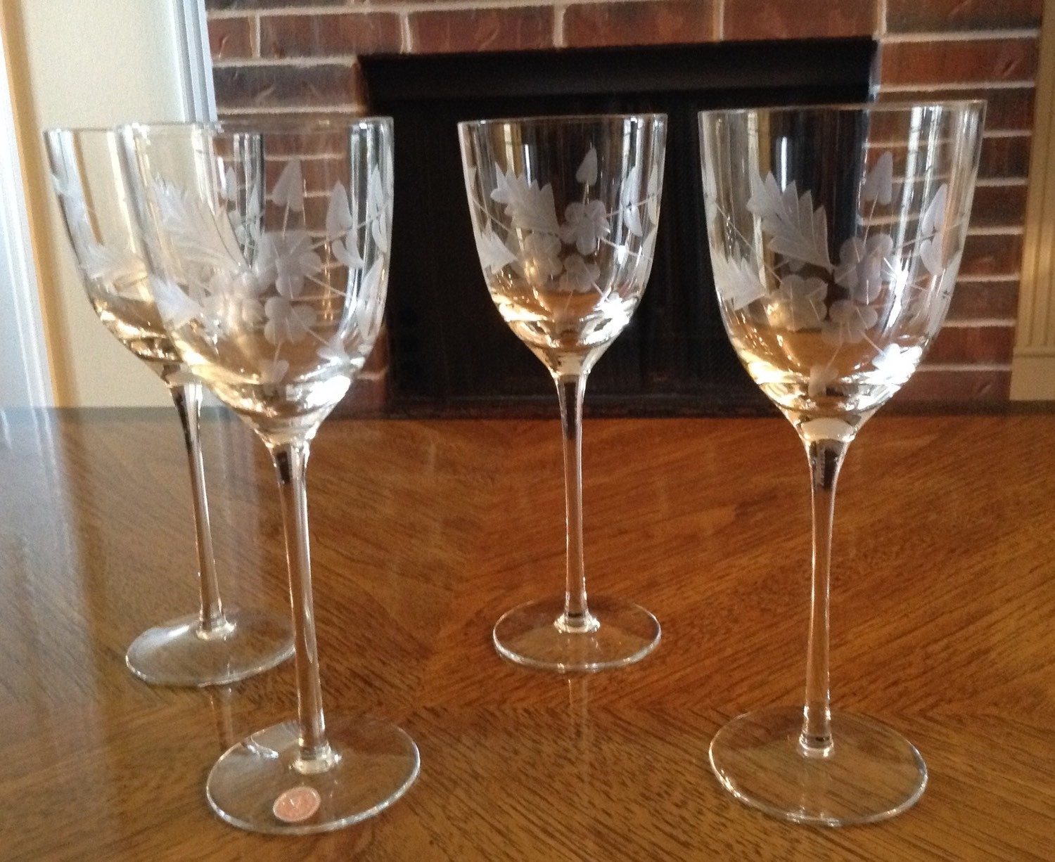 Vintage Romanian Cut Crystal Wine Glasses By