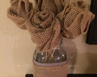 Burlap Flowers in Mason Jar Vase