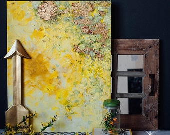 Yours // Original acrylic and gold leaf canvas painting. Yellow, ochre, cream, white, and gold.