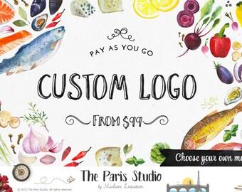 Custom Logo Design Website Logo Blog Logo Business Branding Boutique Logo Watercolor Retro Vintage Logo Wedding Monogram Logo Pay As You Go