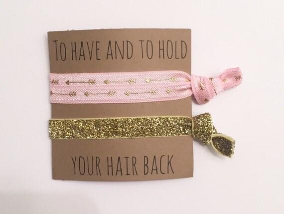Bridesmaid hair tie favor//hair tie favor, hair tie card, bridesmaid gift, bachelorette gift, elastic hair ties, party favor