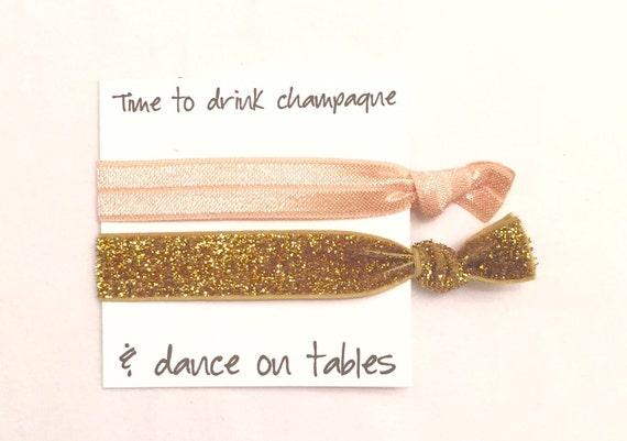 Bridesmaid hair tie favor//elastic hair tie//hair tie card//nude & glitter gold//