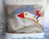 The Wonderful Adventures of Nils illustration pillow Cover,Nils holgersson Throw Pillows,Pillow Cases,zippered pillow,illustration Pillow.