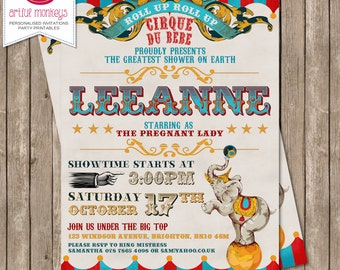 Circus Themed Baby Shower Invitation