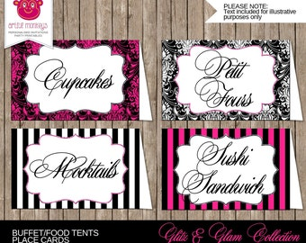Personalised and Printable Glitz & Glam Party Buffet/Food Tents or Place Cards