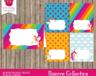 Printable Unicorn Food Tent Cards/Place Cards