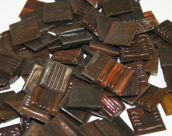 1/2 lb dark and light brown swired 3/4 inch spectra-light glass tiles