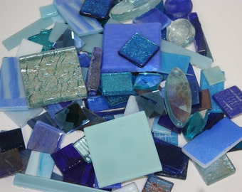 1 pound of Mixed Blue Vitreous Mosaic Glass Tile