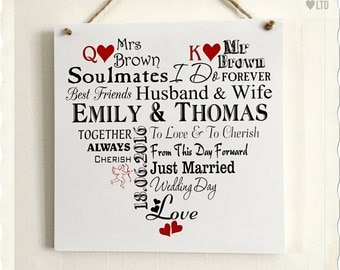 Wedding Gift for Happy Couple Perfect Personalised Plaque W253
