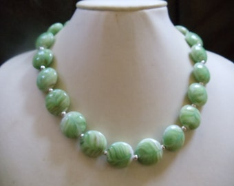 Adda statement necklaces vintage lamp work beads delicately/green/white