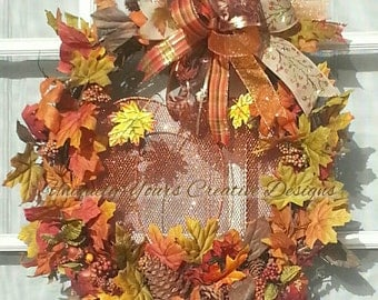 Fall Pumpkin Wreath, Autumn Fall Wreath, Harvest Wreath, Thanksgiving Floral Wreath, Whimsical Bow Wreath, Rustic Grapevine, Door Wreath,