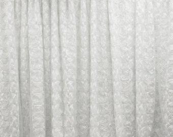 Beautiful White Rosettes Backdrop, Size 20 Ft. x 10 Ft., Wedding Decorations, Wedding Ceremony, Photography Backdrop, Baby Photo