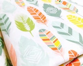 Colorful Feather Fabric - Pastel, Coral, Mint, and Teal - Chic Pattern for Baby Nursery Crafts by the Fat Quarter, Half Yard or Yard